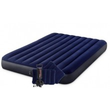 INTEX CLASSIC DOWNY AIRBED QUEEN Materac nadmuchiwany 152 x 203 cm z pompk i 2 poduszkami