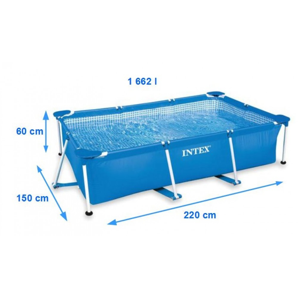Intex basen stela owy prostok tny metal frame pool 220 x for Intex pool 150 cm tief