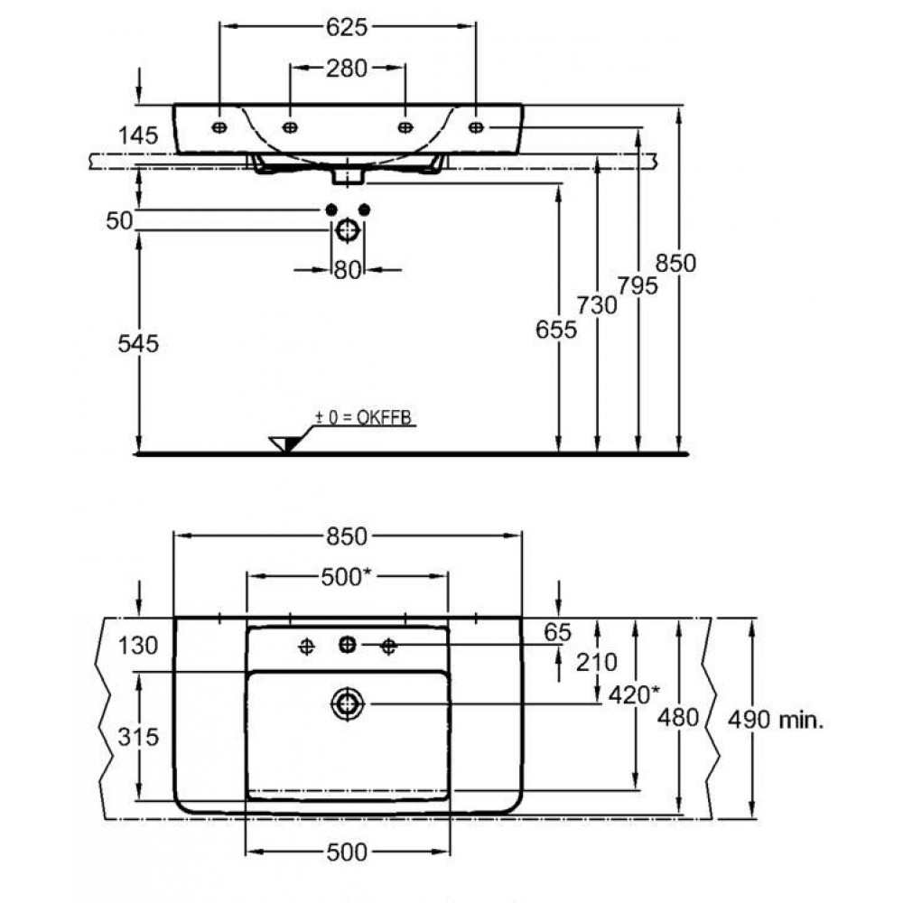 keramag renova nr 1 plan umywalka nablatowa z otworem 85. Black Bedroom Furniture Sets. Home Design Ideas